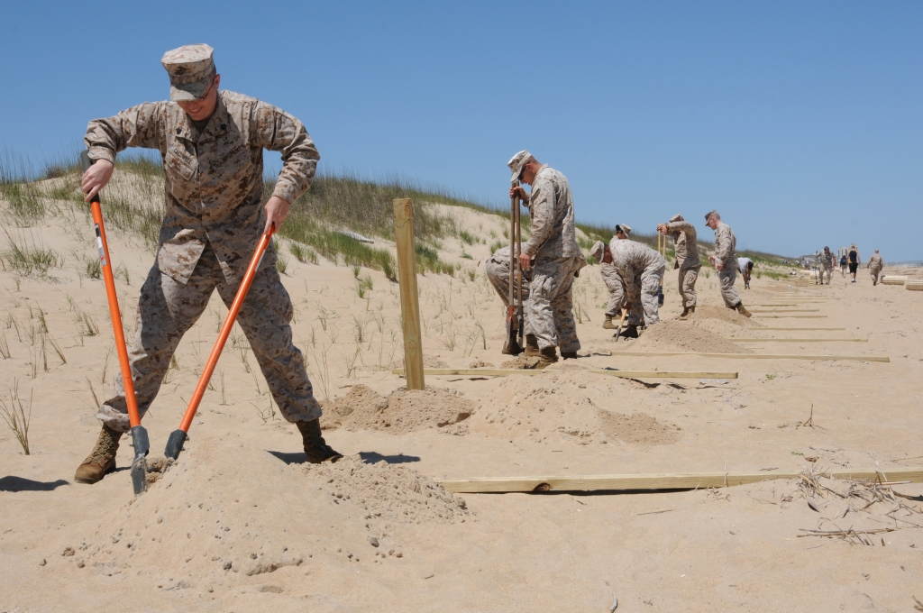Military personnel assist in sand dune recovery project.