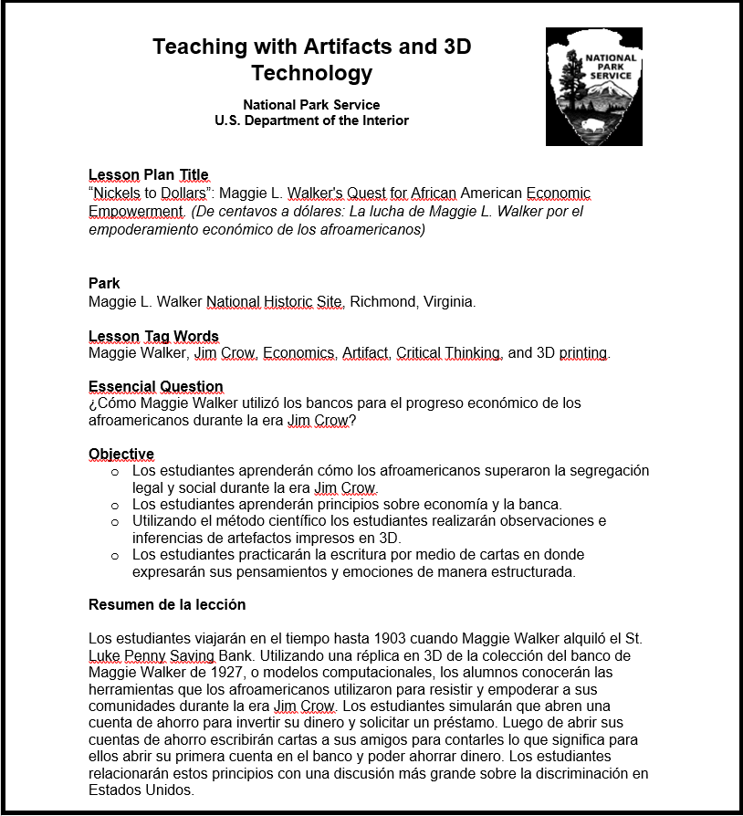 Screenshot of NPS lesson plan translated into Spanish