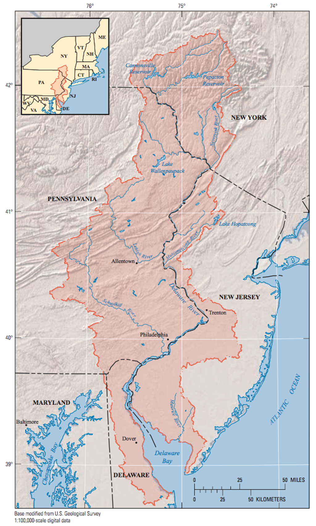 Map of the Delaware River Basin
