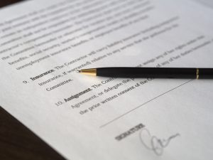 image of contract with pen