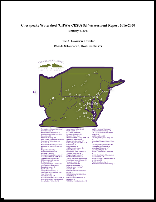 Cover page for the 2021 CHWA CESU self-assessment report. Includes image of Watershed map with partners listed.