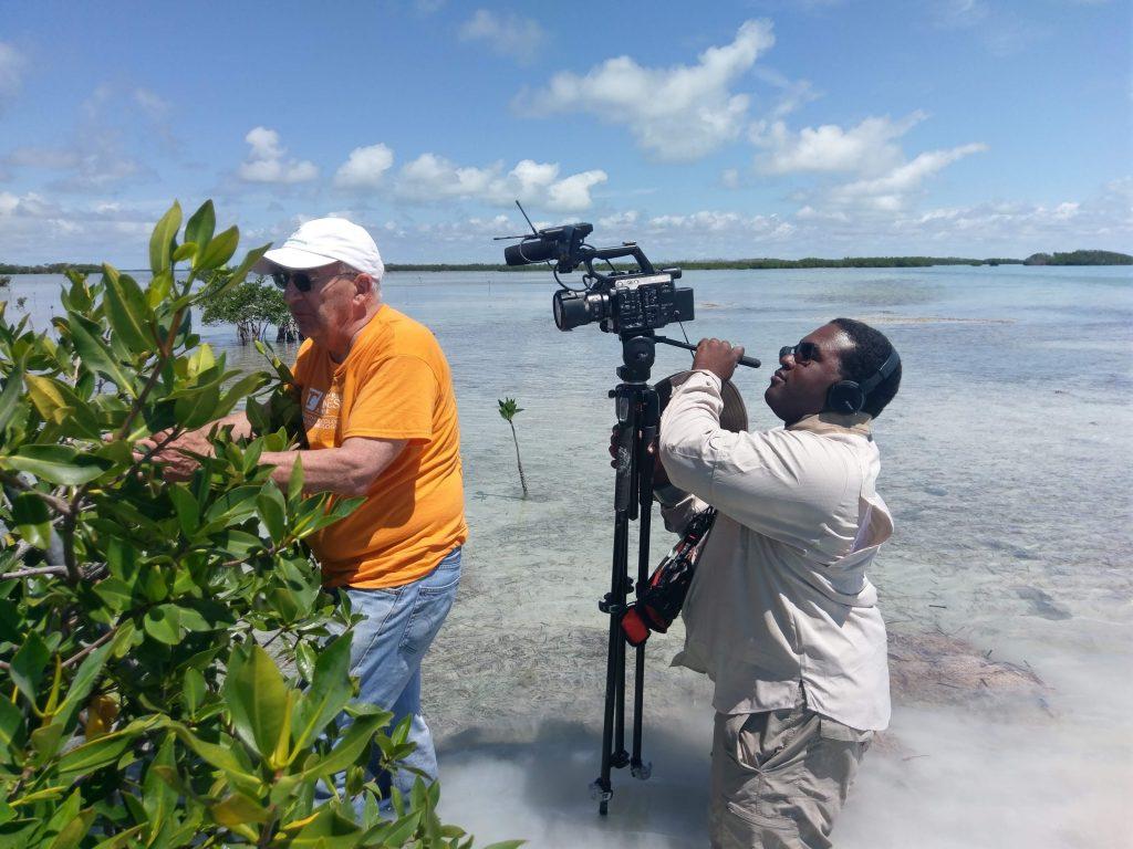 Robert Boyd filming man and vegetation