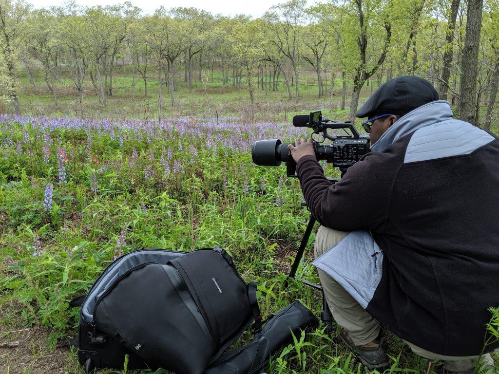 Robert Boyd in field of wildflowers